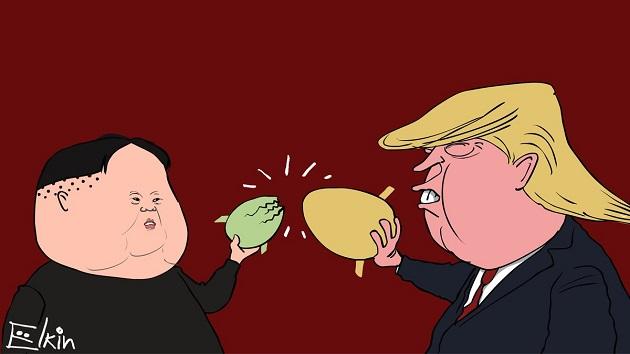 Йолкін смалить: великодній шарж на стосунки Трампа і Кім Чен Ина