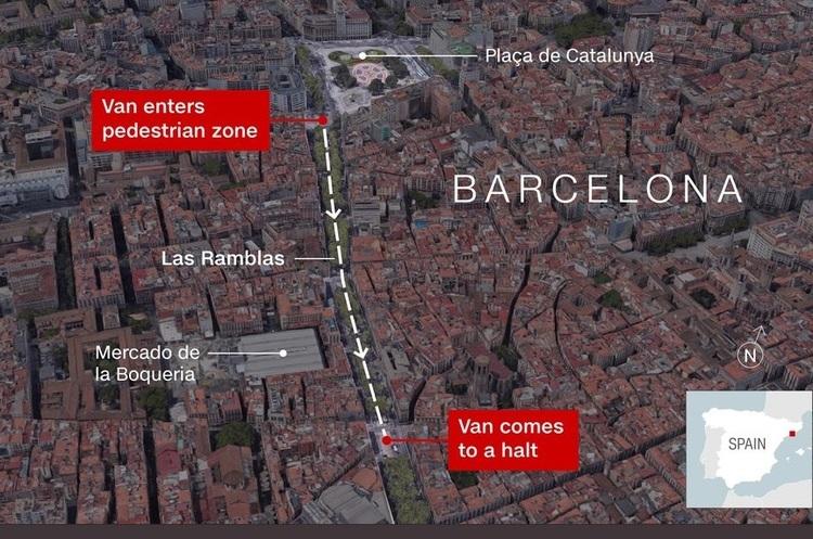 В центрі Барселони автомобіль в'їхав у натовп туристів, є загиблі й поранені (ОНОВЛЮЄТЬСЯ)