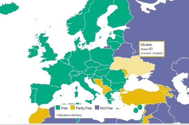 Україна на висоті у рейтингу свободи від Freedom House, Росія наближається до диктатури