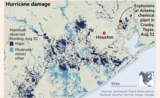 В Техасі на хімічному заводі, пошкодженому ураганом «Харві», пролунали два вибухи