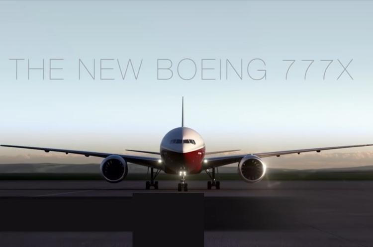 Бориспіль одним із перших прийме новий літак Boeing 777X зі складними крилами