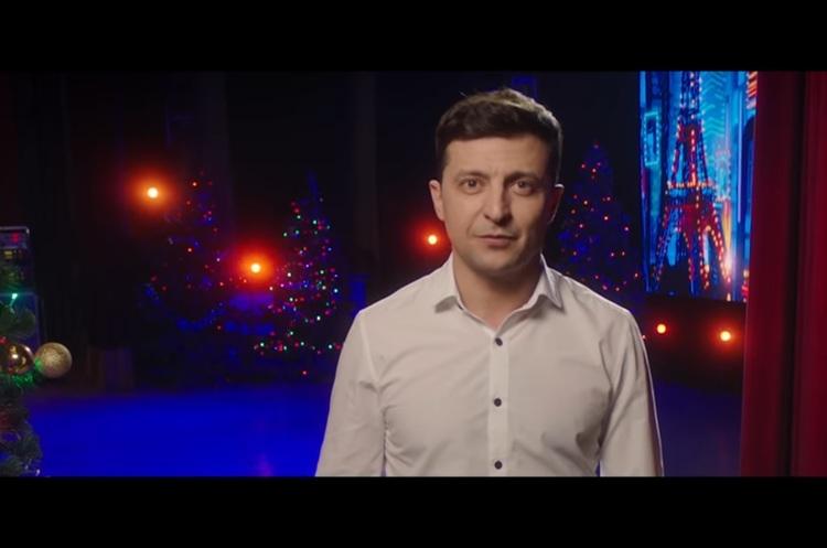 Зеленський виступив на «1+1» з новорічним привітанням замість Порошенка