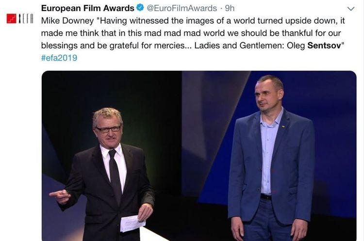 Олегу Сенцову не дали виступити на церемонії Європейської кіноакадемії