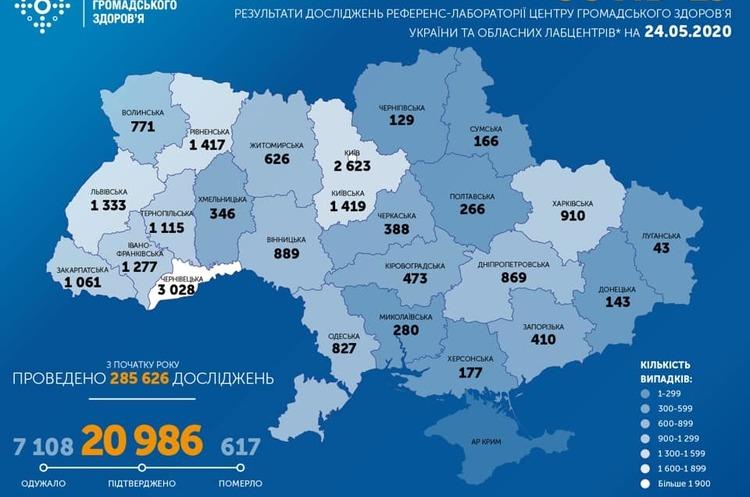 В Україні виявлено 406 нових випадків коронавірусу за останню добу