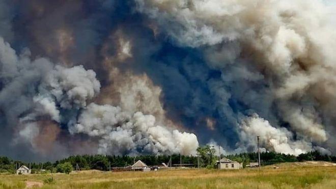 Поблизу лінії фронту вирує лісова пожежа