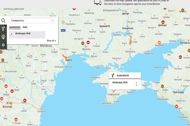 BMW зробила карту для навігатора, на якій позначила Крим російським